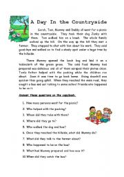 English Worksheet: A Day in the Countryside