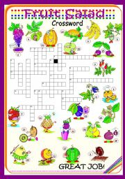 English Worksheet: Fruit Salad - Crossowrd