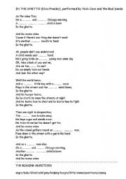 English worksheet: In The Ghetto by Elvis (or Nick Cave)