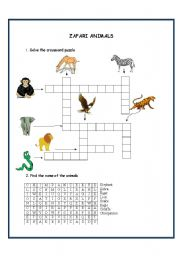 English Worksheets: zafari animals