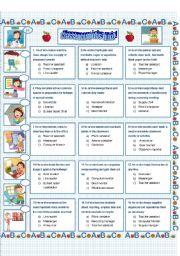 English Worksheet: Back to school: Classroom jobs quiz!