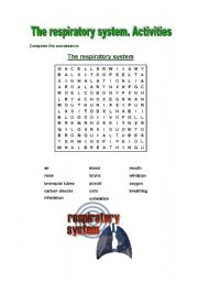 English Worksheet: The respiratory system activities