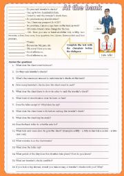 English Worksheet: At the bank - dialogue with 2 tasks ***fully editable