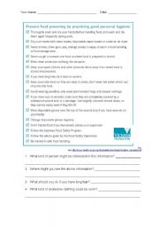English Worksheet: Personal hygiene and food