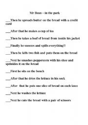 English Worksheet: Mr. Bean making a sandwich in the park