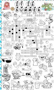 English Worksheet: summer crossword