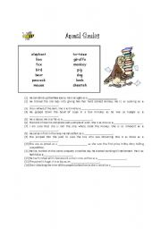 English Worksheets: Animal Similies Worksheet