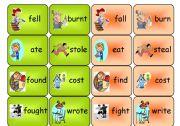 English Worksheet: irregular verbs- memory game