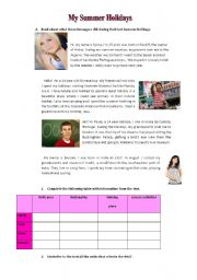 English Worksheet: Back to School : My Last Summer Holidays