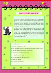 English Worksheets: WHO INVENTED CRISPS?