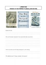 English Worksheet: The Boy in the striped Pyjamas Book Questions