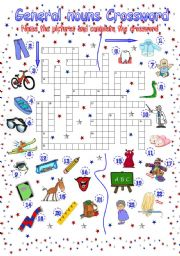 English Worksheets: Nouns Crossword