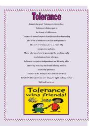 English Worksheet: Tolerance