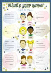 English Worksheet: WHAT´S YOUR NAME?