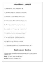 English Worksheets: Reported Speech - Commands and Questions