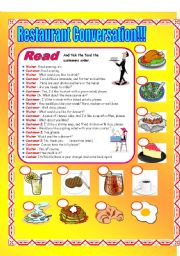 English Worksheet: Restaurant Conversation!