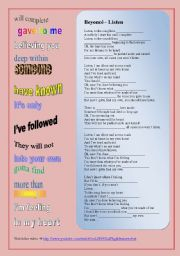 English Worksheets: SONG: Beyoncé - Listen