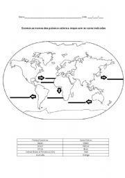 ESL Worksheets For Beginners World Map - Traceable world map