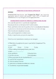 English Worksheet: Instructions and Directions to Operate Electrical Appliances 2