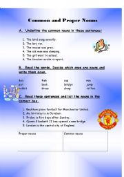 English Worksheet: Common and Proper Nouns