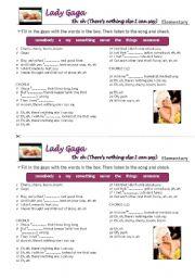English Worksheet: Lady Gaga�s song
