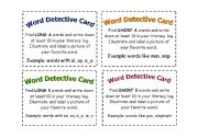 English Worksheet: Word Detective cards