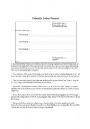 english worksheet friendly letter format