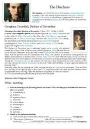 English Worksheets: The Duchess movie worksheet