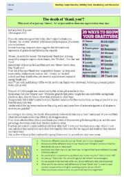 English Worksheet: Authentic Newspaper Article - The Death of Thank You?