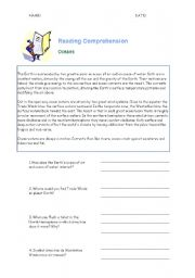 English worksheet: Oceans