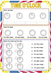 English Worksheet: Time o�clock