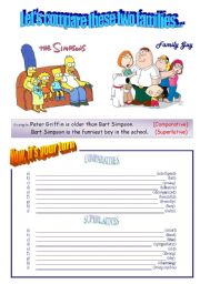 English Worksheet: Comparatives and Superlatives with The Simpsons and Family Guy