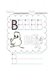 English Worksheets: B writing, tracing, and coloring
