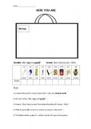 English Worksheets: Information Gap: Secret Bag