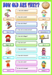 English Worksheet: How old are they?