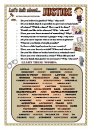 English Worksheets: LET�S TALK ABOUT JUSTICE (SPEAKING SERIES 74)