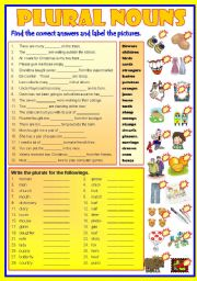 English Worksheet: PLURAL NOUNS   -  B/W & Keys