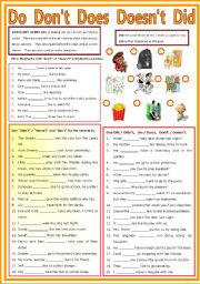 English Worksheet: Auxiliary Verb - Do - Don�t - Does - Doesn�t - Did