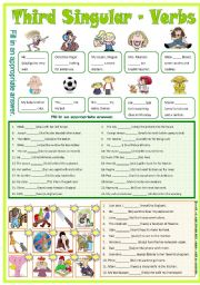 English Worksheets: Third Singular - Verbs -B/W