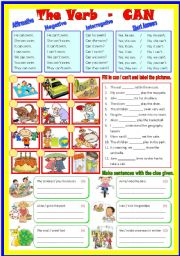 English Worksheet: Auxiliary Verb - Can / Can�t  (B/W & Keys)