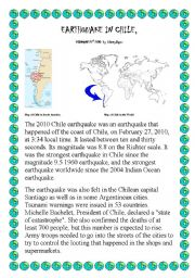 English Worksheet: Earthquake in Chile 2010