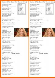 English Worksheet: SHAKIRA - WAKA WAKA (THIS TIME FOR AFRICA)