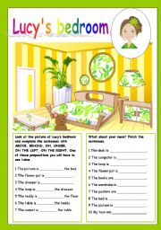 English Worksheets: lucy´s bedroom (prepositions of place, editable)