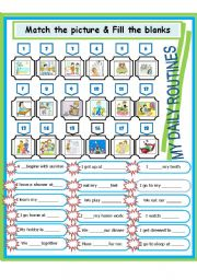 English Worksheets: My daily routines
