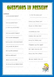 English Worksheets: QUESTIONS IN PRESENT