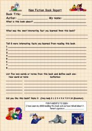 worksheet: Non Fiction Book Report Form