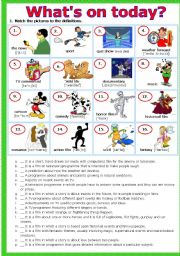 English Worksheet: TV PROGRAMMES ´What´s on today?´ # 2 matching exercises # plus KEY # fully editable