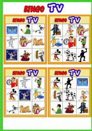TV programmes BINGO # 17 programmes # 10 CARDS # List of vocabulary + call sheet # Bingo Instructions # fully editable