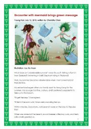 English Worksheets: Encounter with mermaid brings green message.   Re-uploaded with a short activity added.