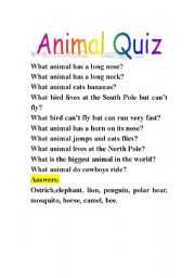 Animal Quiz Esl Worksheet By Shaluobobo